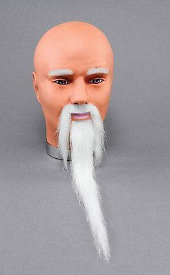 Weiß Zauberer Chinesisch Alter Mann Kostüm Bart & Tash Kostüm Zubehör Neu