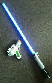 Star wars FX lightsaber and nerf pistol