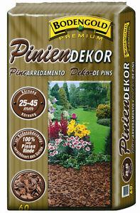 Pinien-Dekor-Mulch BODENGOLD Premium 25-45mm 60 Liter Rindenmulch Pinienrinde L
