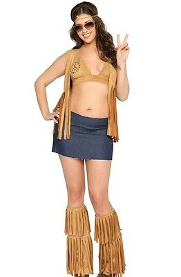 Womans sz. Extra large xl 3pc 70's seventies hippie babe costume  - Hippie Babe