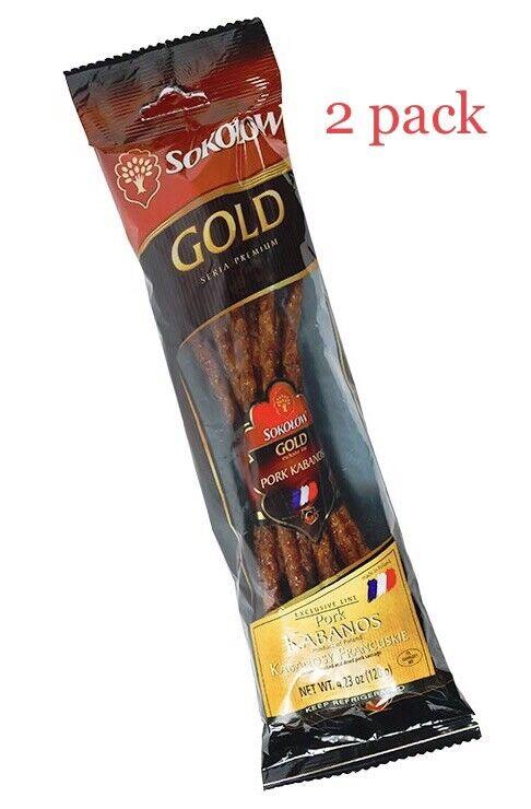SOKOLOW Kabanosy Francuskie,Cooked,smoked And Dried Pork Sausage ( 2 Pack )