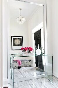 Selling almost new modern glass console table