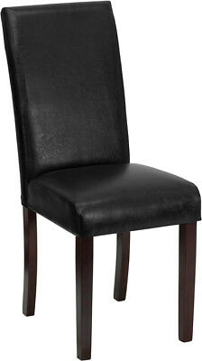 4 Black Leather Parsons Dining Restaurant Chairs