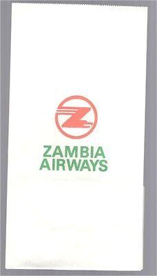 ZAMBIA AIRWAYS VINTAGE SICK BAG - BARF BAG AIR SICKNESS AFRICA