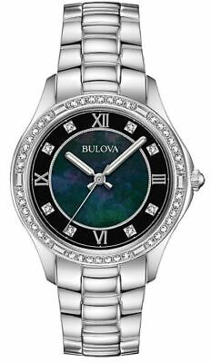 Bulova Women's 96L266 Quartz Crystal Accent Black Dial Band 32mm Watch