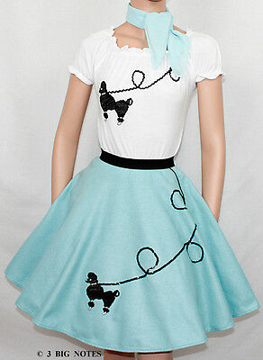 3 PC Light Blue 50's Poodle Skirt outfit Girl Child Size 4/5/6 Length 18