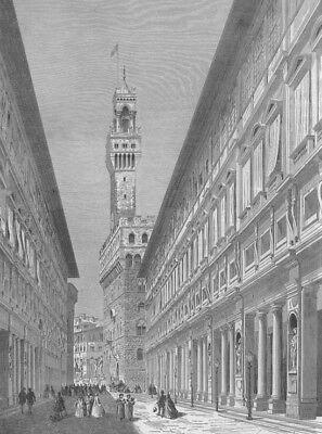Uffizi Gallery - Italy, UFFIZI ART GALLERY FLORENCE DUOMO DAVID STATUE ~ 1882 Art Print Engraving
