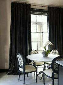 Almost new v modern stylish fully lined black silk curtains