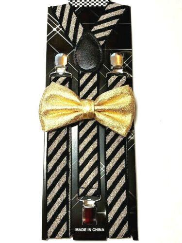 New Metallic Gold Suspender Bow Tie & Matching Set Tuxedo Wedding