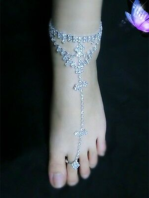 Women Rhinestone Barefoot Sandal Beach Anklet Foot Chain Toe Ring Bracelet