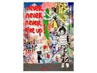 MR BRAINWASH  LA Art Show Never Give Up Rare Event Promo Card NEVER SOLD.