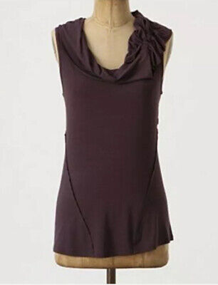 Anthropologie C Keer Womens Large L Seamed Shaped Cowl Neck Top Purple