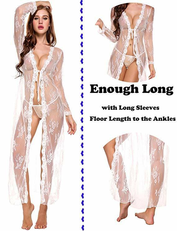 Women Sexy Long Lace Kimono Robe Lingerie Eyelash Babydoll Sheer Cover up Dress Clothing, Shoes & Accessories