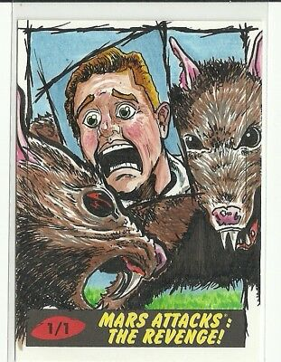 2017 Topps Mars Attacks The Revenge ! Rats Sketch Card by K Grimm