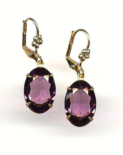 Victorian AMETHYST oval cut-crystal Earrings 14K Gold gp Lever backs *Vtg Czech