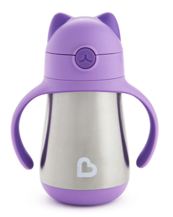 Munchkin Cool Cat Stainless Steel Straw Cup 8 Ounce Purple BPA Free Spill Proof