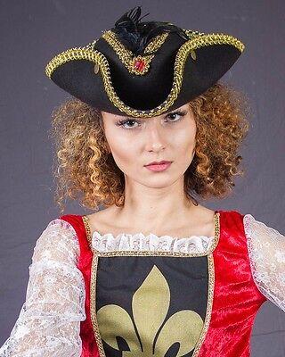 Piratenhut edel mit Federn 2. WahlPirat Dreispitz Piratenbraut schwarz 123842113