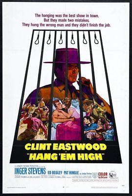 Hang Em High   1968   Original 27X41 Movie Poster   Clint Eastwood   Near Mint