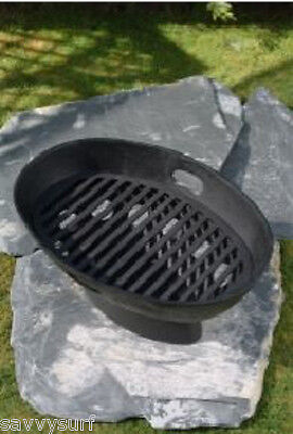 Cast Iron Fire Pit Fire Bowl Boat Fire Basket Camp Cooker Barbeque Firepit BBQ