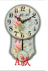 Large Vintage Rustic Wooden Wall Clock Antique Shabby Chic Retro with PENDULUM