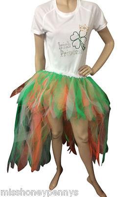 Neon Tutu skirt 80's Fancy Dress Irish St Paddy's Day Waterfall Skirt T-shirt - St Paddy's Day Fancy Dress Kostüm