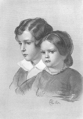 (Royal Family SISTER & BROTHER Portrait ~ 1877 Edwin LANDSEER Art Print Engraving)