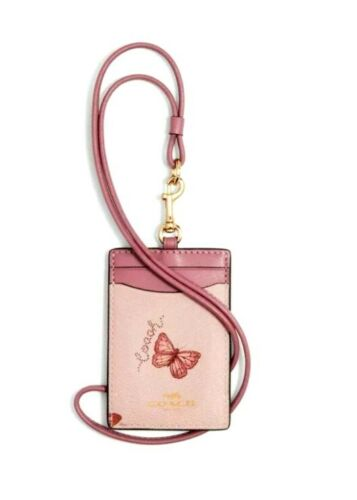NEW $68 Coach Butterfly Floral Flower Leather Lanyard ID Badge Holder Card Case