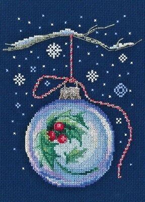 Counted Cross Stitch Kit Rto   Ball With A Sprig Of Holly