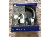 Brand new PS3/PS4 vibration gaming headset in white