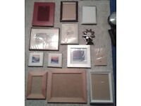 15 picture frames - some with pictures - price for ALL - selling other items
