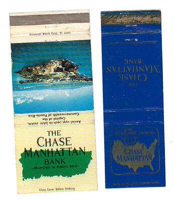 THE CHASE MANHATTAN BANK NEW YORK PUERTO RICO 2 MATCHBOX LABEL ANNI '50 AMERICA