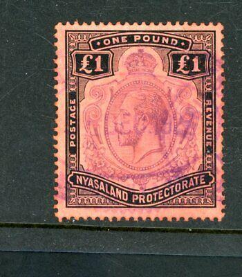 Nyasaland  1913/18  £1  Value  (SG 98)   used fiscally      (Jy787)