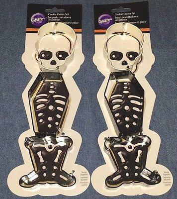 Lot of 2 Skeleton 3 piece cookie cutter sets - Wilton 2308-0240 - HALLOWEEN NWT - Wilton Halloween Cookies