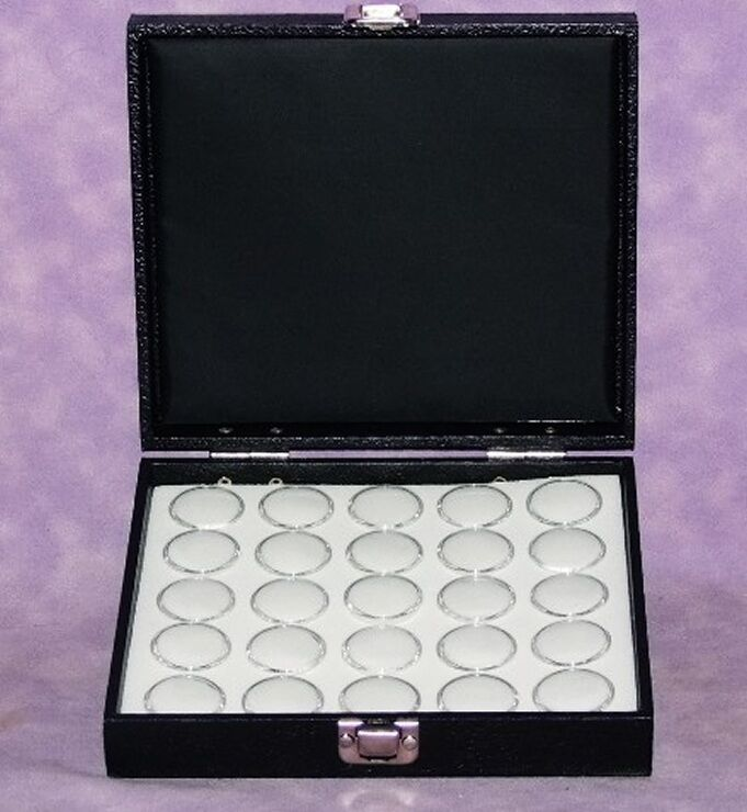 TRAVELING GEM STOREAGE HINGED LID 25 SPACE WHITE FOAM
