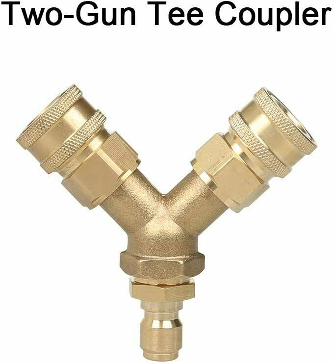 Pressure Washer Tee, Splitter Coupler, Quick Connect Two Gun to One Power Washer