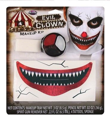 Scary Clown Special Effects Make Up Kit 4 X Tattoos Face Paint Fancy Dress