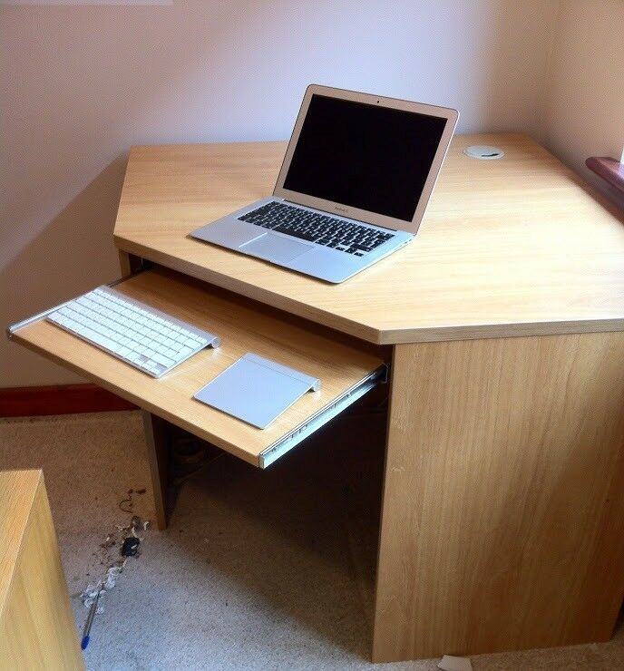 Computer Desk For Corner Of Office With Pullout Keyboard Shelf