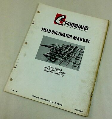 Farmhand Field Cultivator Operators Owners Instructions Parts List Manual F203-a
