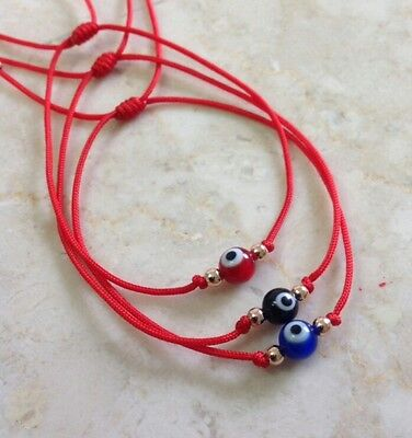 3 Evil Eye Red String Kabbalah Bracelet Goldtone Bead Good Luck Charm Protection](Blue Bead Bracelet)