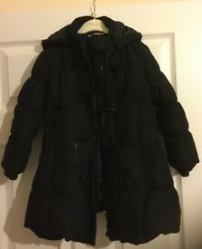 John Lewis 'Girl' padded coat, with hood. Size 4 years, black.