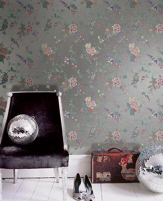 Kimono Foil Birds Parrots Metallic Silver Modern Mirror Double Roll Wallpaper