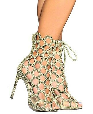 Gold Silver Lace up Peep toe Glitter Heel Pump Queeny Honeycomb Women's shoes