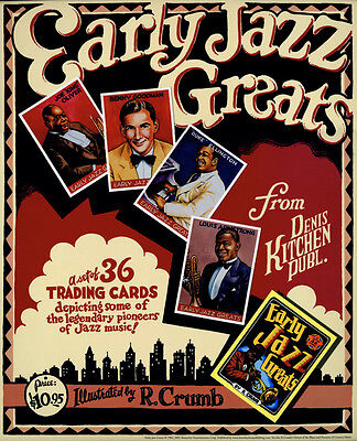 R. CRUMB EARLY JAZZ GREATS LARGE PROMOTIONAL POSTER for sale  Sudbury
