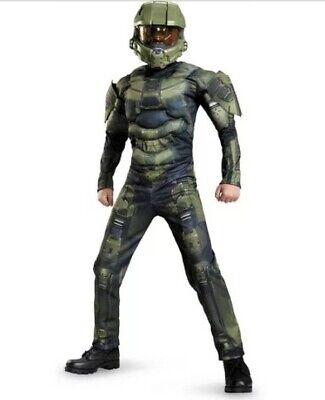 Halo Master Chief Boy's Halloween Costume 3D Jumpsuit Muscles Large (10-12) New