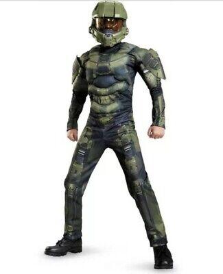 Halo Master Chief Boy's Halloween Costume 3D Jumpsuit Muscles Medium (7-8) New ()