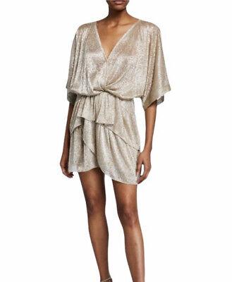 IRO Ruffled Gold Lamé Mini Dress Size 40 US 8