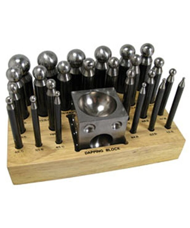DAPPING PUNCH SET  24pc WITH BLOCK & STAND