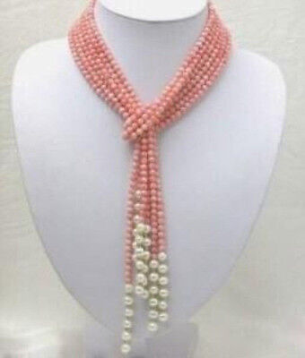 Natural 3 Rows 52 inch 4mm Pink Coral & 7-8mm Freshwater Pearl Necklace  4mm Freshwater Pearl Necklace
