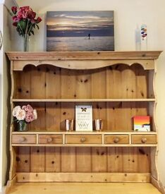Country rustic wooden Welsh dresser top with 5 drawers