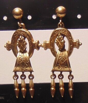 Victorian 14k Solid Yellow Gold & Gold Fill Enmgraved Dangle Screw Back Earrings